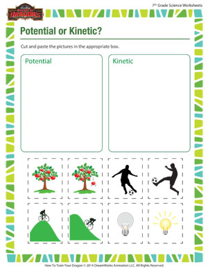 Worksheets Kinetic And Potential Energy Worksheet potential or kinetic middle school science worksheets kinetic