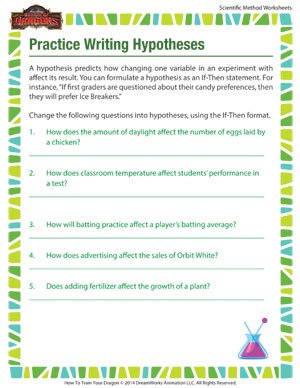 practice writing hypotheses scientific method printables for kids school of dragons. Black Bedroom Furniture Sets. Home Design Ideas