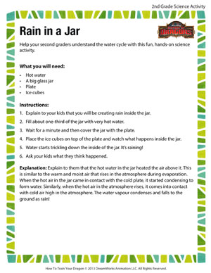 Rain in a Jar - Printable Second Grade Science Activity