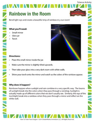 Rainbow in the Room - Printable Fifth Grade Science Activity