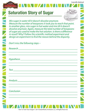 Saturation Story of Sugar - Printable Scientific Method Worksheet