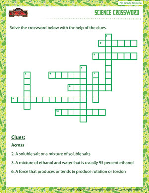 Printables 7th Grade Science Worksheets science crossword free 7th grade printable pdfs and seventh worksheet