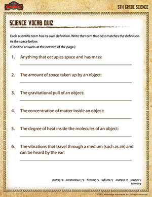 Science Vocab Quiz –5th Grade Science Printables Online