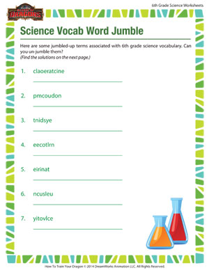 Printables Science Worksheets For 6th Graders science vocab word jumble online worksheets for sixth printable 6th grade worksheet