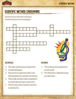 Printables The Scientific Method Worksheets scientific method crossword school crossword
