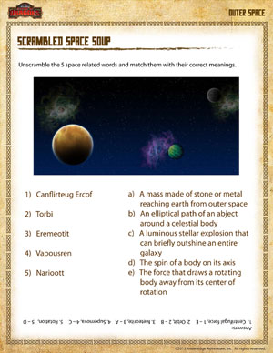 Printables School Worksheets For 4th Graders scrambled space soup free outer science worksheet for 4th printable grade worksheet