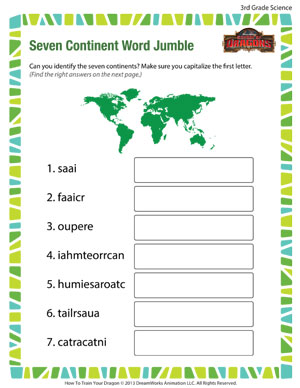 Seven Continent Word Jumble - Printable Third Grade Science Worksheet