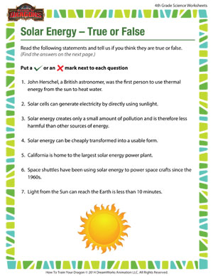 Solar Energy – True or False – Printable 4th Grade Science Worksheet