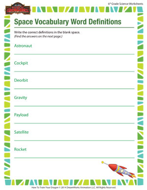 Printables 6th Grade Vocabulary Worksheets space vocabulary word definitions science worksheets for sixth online free worksheet 6th grade