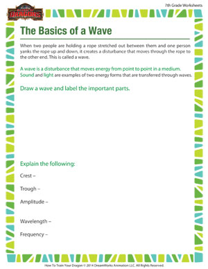 The Basics Of A Wave 7th Grade Worksheet School Of Dragons