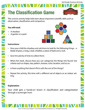 the classification game 3rd grade science activities sod. Black Bedroom Furniture Sets. Home Design Ideas