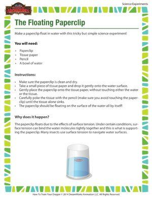 The Floating Paperclip - Learn how science can make paperclips float!