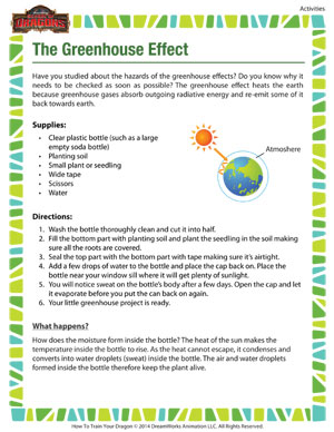 the greenhouse effect science activity for 6th grade school of