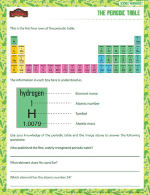 The Periodic Table - Free 6th Grade Science Worksheet