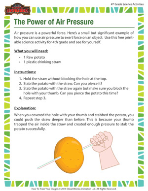 The Power of Air Pressure – Printable Science Activity for 4th Grade ...