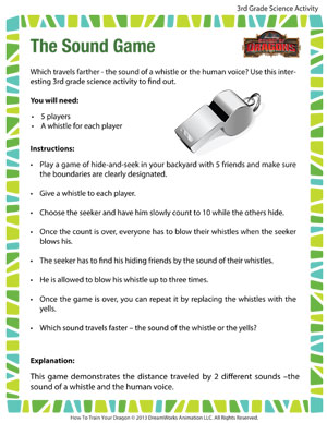 The Sound Game - Printable Third Grade Science Activity