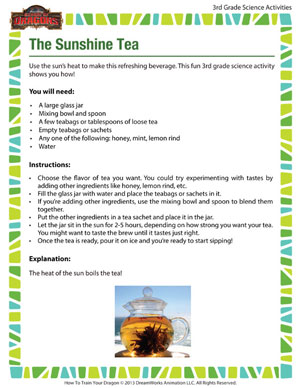 Check out 'The Sunshine Tea' - Fun 3rd Grade Science Activity