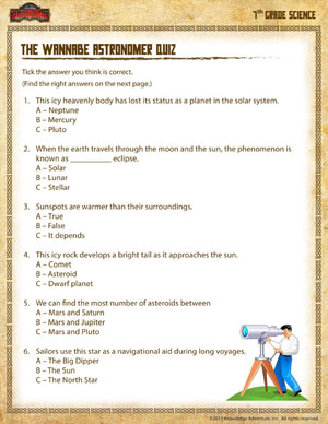 Worksheets Science Worksheets 7th Grade the wannabe astronomer quiz printable 7th grade science worksheets for grade