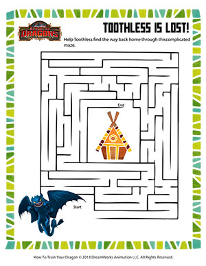 Toothless is Lost! - Printable Mazes Worksheet