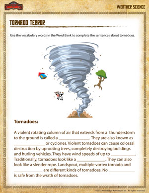 Tornado Terror – Free Earth Science Worksheet for 4th Grade– School ...