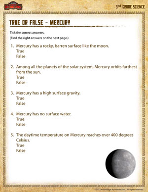 True or False – Mercury - Printable Third Grade Science Worksheet