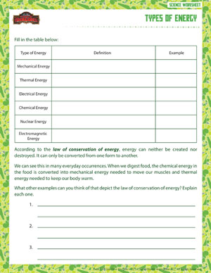 Types Of Energy Printable 6th Grade Science Worksheet