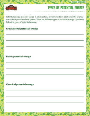 Types of Potential Energy - Printable 6th Grade Science Worksheet