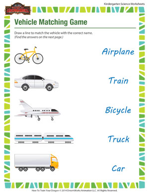 math worksheet : vehicle matching game  free fun kindergarten science worksheets  : Science Worksheets Kindergarten