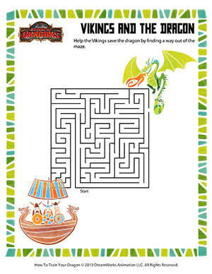 Vikings and the Dragon - Printable Mazes Worksheet
