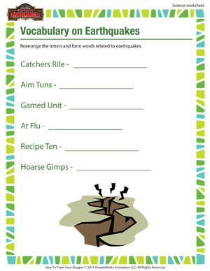 Worksheets Earthquakes For Kids Worksheets vocabulary on earthquakes science worksheet for 5th grade earthquakes