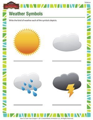 Weather Symbols – Printable Science Worksheet for 1st grade Kids