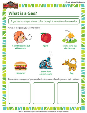 What is a Gas? - Printable Science worksheets for First Grade