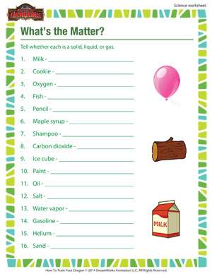What's the Matter? – 3rd Grade Science Worksheet – School Of Dragons
