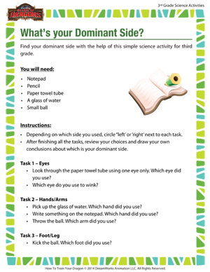 Download 'What's your Dominant Side?' - Fun 3rd Grade Science Activity to find the dominant side of your body