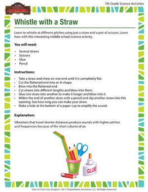 Whistle with a Straw - Printable 7th Grade Science Activity