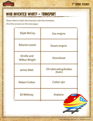 Who Invented What? – Transport – Fun Science Worksheets for 7th ...
