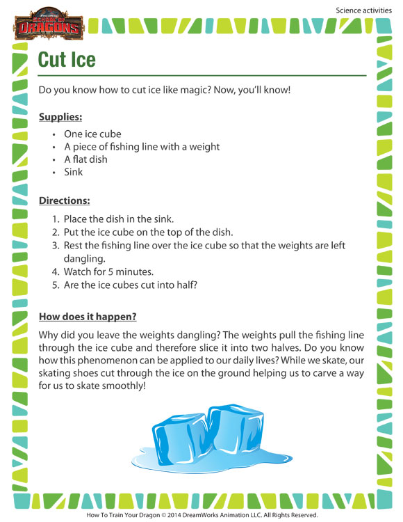 Cut Ice Worksheet - Free 4th Grade Science Activity - SoD