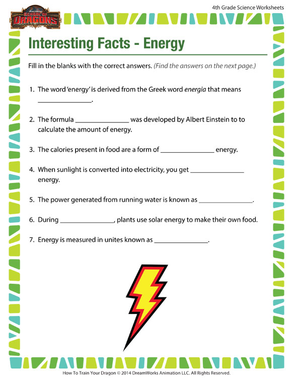 Interesting Facts Energy View - 4th Grade Worksheets - SoD