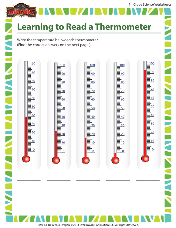 Learning to Read a Thermometer - 1st grade science worksheet