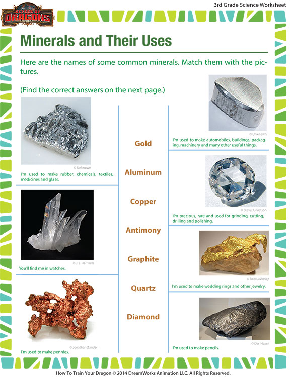 Minerals and Their Uses - Printable Minerals Worksheet for 3rd grade