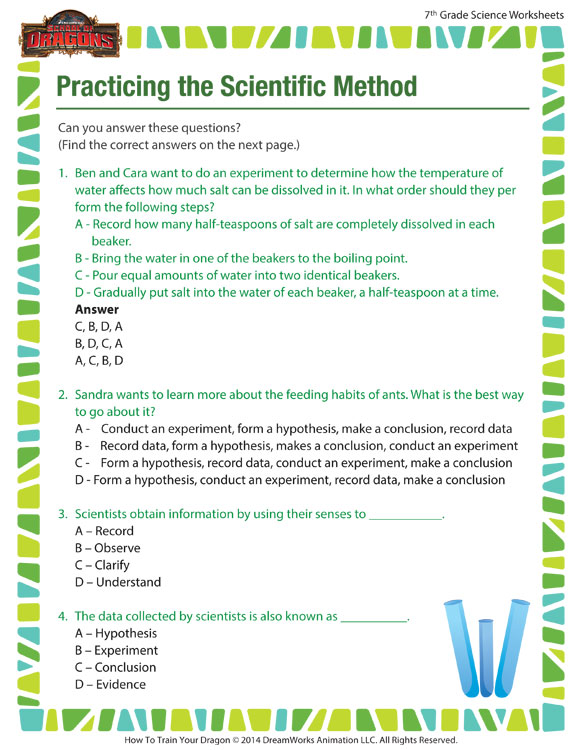 Practicing the Scientiifc Method - Fun Science worksheet for Grade 7