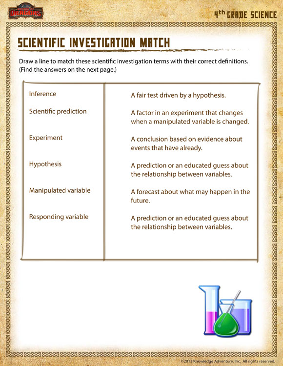 Scientific Investigation Match View - 4th Grade Worksheet ...