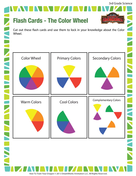Flash Cards Color Wheel View – 3rd Grade Worksheets – SoD