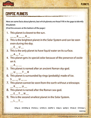Cryptic Planets –5th Grade Science Printables Online