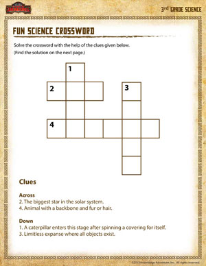 Fun Science Crossword - 3rd Grade Science Worksheets - SoD
