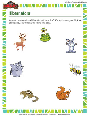 Hibernators - Printable Science Worksheet for 4th Grade - SoD