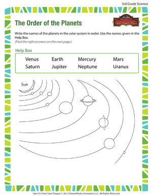 The Order of the Planets – Free Science Worksheet for 3rd Grade ...